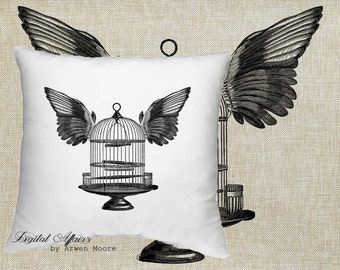 Digital Download Backyard Collection Vintage Chic Birdcage Wings Black & White Image For Papercrafts, Transfer, Pillows, Totes, Etc va023
