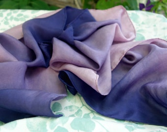 "Naturally Dyed Purple Violet Lavender Pink Habotai Silk Scarf Ombre Logwood Lac  Plant Dyed Purple 10"" x 52"" Ombre Natural DyePurple Scarf"