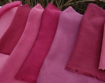 """Silk Fabrics Naturally Dyed 8 Small Pieces Variety of Silks and Shades Maroon Rose Pink  Natural Plant Dyed Art Fabric 4"""" x 12"""" to 10"""" x 12"""""""