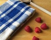 Handwoven kitchen towel / royal blue & ivory farmhouse plaid