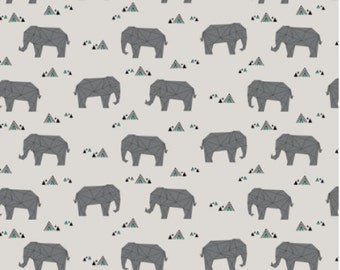 Elephant Fabric - Baby Elephants - Grey Baby Geometeric Elephant Fabric By Kimsa - Elephant Fabric with Spoonflower - By the yard
