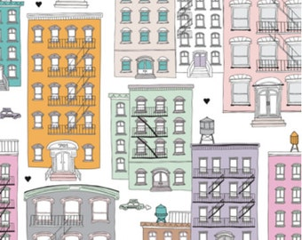 Spoonflower's New York City Brownstones fabric designed by LittleSmileMakers -printed on a variety of cotton fabrics - by the yard