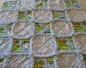 Green and Blue John Deere Farm Baby Boy Rag Quilt Blanket 35x35
