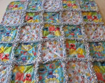 Sesame Street Cookie Monster Big Bird Elmo Baby Boy Rag Quilt Blanket