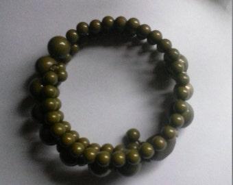 Olive Green Beaded Coil Bracelet