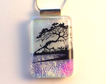 Bonsai Fused Dichroic Glass Pendant  Silver Chain Necklace