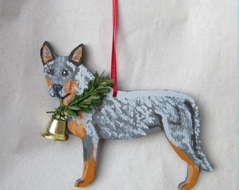 Hand-Painted AUSTRALIAN CATTLEDOG BLUE Heeler Wood Christmas Ornament...Nicely painted