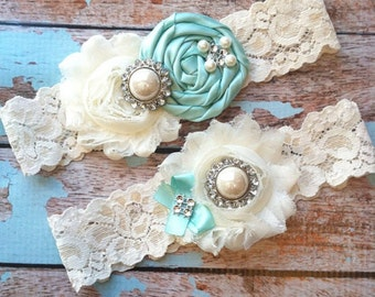 Wedding  Garter/ bridal  garter/  lace garter / toss garter / Something BLue wedding garter / vintage inspired lace garter