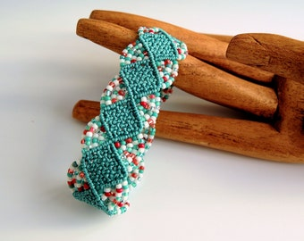 Turquoise and Red Macrame Bracelet - Micro Macrame Bracelet - Handmade Jewelry