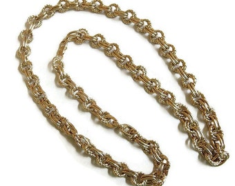 Braided Textured Chain Link Necklace Vintage