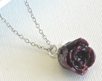 Real Burgundy Rose Bud Necklace - Natural Preserved,  Flower Jewelry, Pearl, Sterling Silver