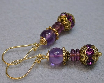 Vintage Amethyst Bead Earrings,Vintage Purple Swarovski Crystal Pave Gold Beads,Vintage German Purple Glass ,Bali 24K Gold Vermeil Ear Wires