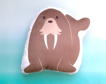Baby Toys, Stuffed Animal, Gifts for Kids, Beach Nursery Decor, Crib Bedding, Unisex Kids Throw Pillow, Toddler Room Decor, Walrus Pillow