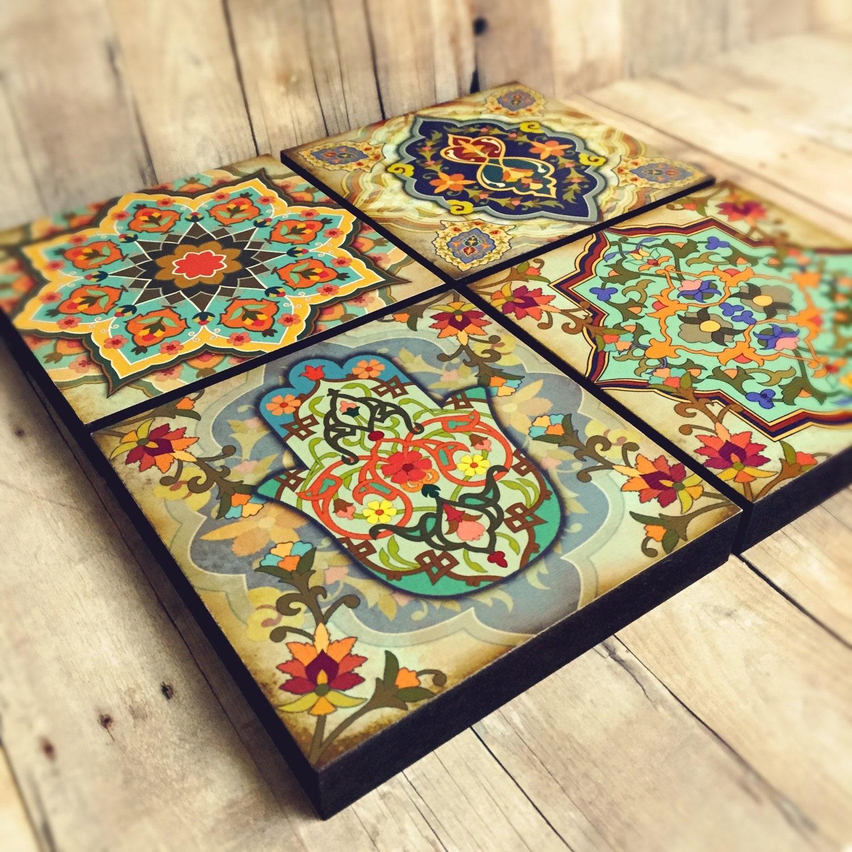 moroccan wall art set hamsa block set of 4 hamsa wall art. Black Bedroom Furniture Sets. Home Design Ideas