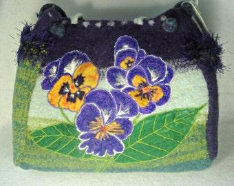Felted Purse, Felted Tote, Felted Handbag, Large Felted Bag, Pansies in Bloom, travel bag,needle felt flower