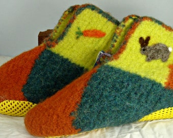 Felted Slippers, LARGE slippers, Norwegian Style slippers, boiled wool slippers, knit slippers