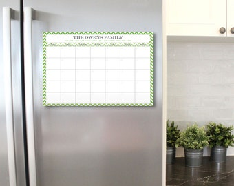Chevron Dry Erase Calendar - 12 x 18 - Personalized Chevron Dry Erase Calendar with days of week