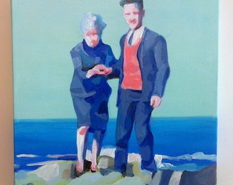 breaking on the shore - acrylic ORIGINAL painting  on canvas - landscape - sea art -wall art- wall decor- home decor