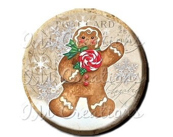 "35% OFF - Pocket Mirror, Magnet or Pinback Button - Favors - 2.25""- Vintage Christmas Gingerbread Man MR305"