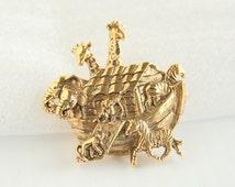 Noahs Ark Brooch Vintage Noahs Ark Figural Pin Goldtone Animals