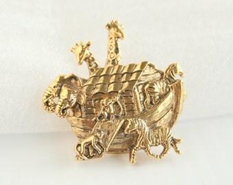 Vintage Noahs Ark Pin Brooch Vintage Noahs Ark Figural Pin Goldtone Animals