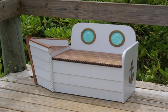 Toy Box, FREE SHIPPING, White Wooden Boat Toy Box, Toy Boat, Toy ...