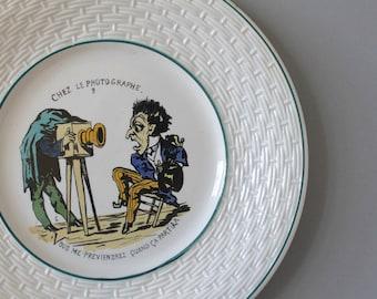 Antique Gien Faience photography plate, Gien Faiencerie Porcelain Plate, French Humor China, Basketweave Porcelain Plate, Paris Fleamarket