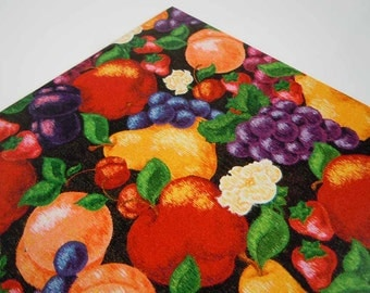 Vintage Any Occasion Wrapping Paper   Red Purple Orange Gift Wrap Paper   Flowers & Fruits Birthday Gift Wrap
