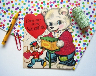 Vintage Valentine's Day Greeting Card Flocked Glittered Teddy Bear and Monkey