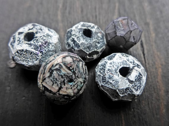 Textured gray polymer clay art beads set (5) handmade artisan facet and crackle beads by fancifuldevices