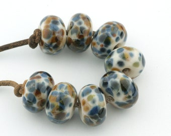 Blues and Browns Handmade Glass Lampwork Beads (8 count) by Pink Beach Studios - SRA (1168)