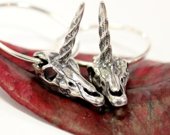 Unicorn Skull Hoop Earrings 442