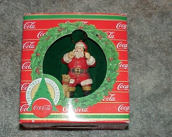1980's--Coca Cola--Santa--Shhh--Christmas Ornament--Santa With Dog