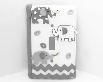 Elephant Chevron Light Switch or Outlet Cover Gray and White - Children's, Nursery, Toddler's
