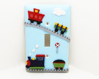 Train Light Switch Cover or Outlet Cover -  Transportation Themed Room - Train Nursery - Blue, Red - Polymer Clay - Toggle or Rocker Cover