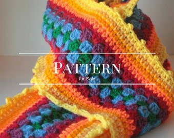 winter scarf pattern, Crochet Granny Square Stripe, Sunshine Scarf