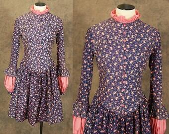vintage 60s Babydoll Dress - 1960s Floral Calico Prairie Dress Mini Dress Sz S
