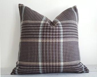 Brown Blue Wool Plaid Pillow Covers, Taupe Brown Blue Pillows, Textured Brown Plaid Pillow, Taupe Grey Cream Pillow, Plaid Cushions, 18x18