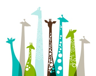 "16X20"" giraffes landscape format giclee print on fine art paper. teal blue, green, taupe, brown."