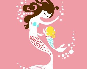 "8X10"" mermaid mother & baby girl giclee print on fine art paper. smoothie pink, teal, very dark brunette, blonde"