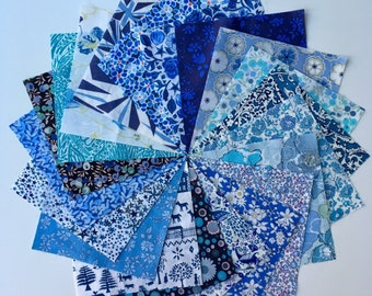 Liberty lawn BLUE charm pack - 20 Liberty of London Tana Lawn  Fabric 5 inch squares