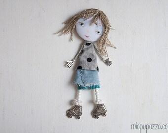 Little Roller Skate, Big Head Girl, Art Doll Brooch
