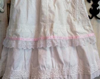 Boho Skirt White Layered Prairie Skirt The wild Raspberry