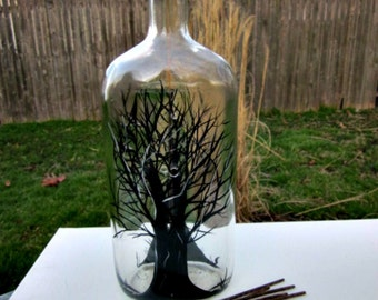 Incense Burner, Smoking Bottle, Recycled Clear Bottle, Incense Holder, Hand Painted, Black Trees