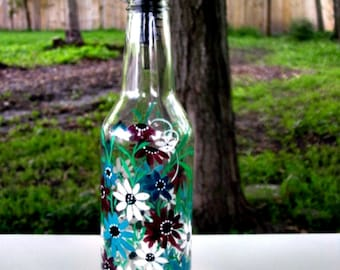 Dish Soap Dispenser,  Recycled Clear Beer Bottle, Painted Glass, Oil and Vinegar Bottle, Shades of Turquoise, Maroon, and White Flowers