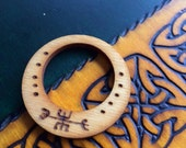 Double Circle Rustic Wood Burned Norse Charm/Talisman Pendant To Prevent Anger And Avoid Wrath - Pine Wood With Blessing Oil - Pagan