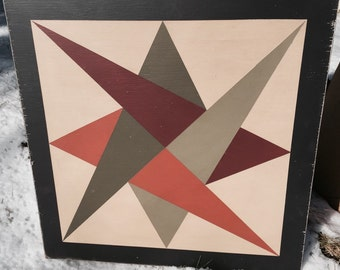 PriMiTiVe Hand-Painted Barn Quilt - 3' x 3' Laced Star Pattern