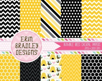 60% OFF SALE Bumble Bee Commercial Use Digital Paper Pack Chevron Stripes and Polka Dots INSTANT Download