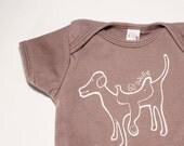 Organic baby bodysuit screen printed Go Doggie galaxy blue