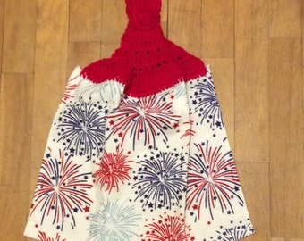 Fireworks Kitchen Towel Red - Independence Picnic Camping Grilling BBQ